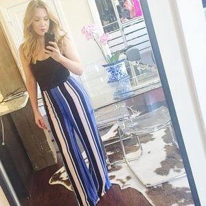Blue striped wide leg pants